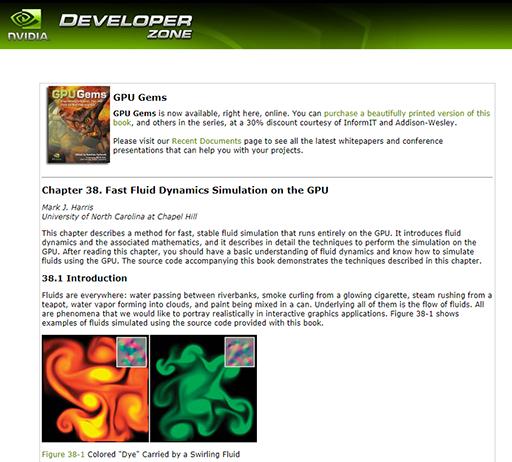 GPU Gems - Chapter 38. Fast Fluid Dynamics Simulation on the GPU